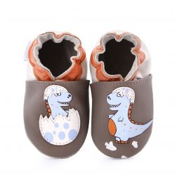 Pantofi bebelusi Funny Dino Brown