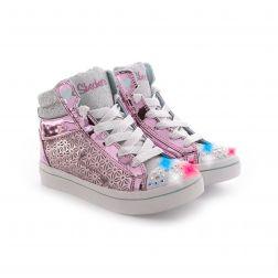 Tenisi fete Twi Lites Glitter Ups Pink Silver
