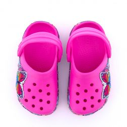 Sandale plaja Fete Crocs Multi Butterfly Pink