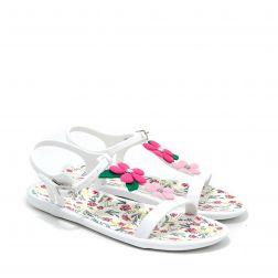 Sandale plaja fete Tricia Floral Blanco