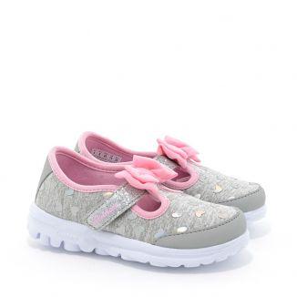 Pantofi Sport fete Go Walk Bitty Hearts Grey Pink