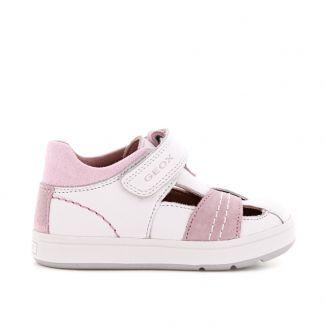 Geox Pantofi din piele pentruFete Biglia G.D White Rose incaltaminte copii bigstep