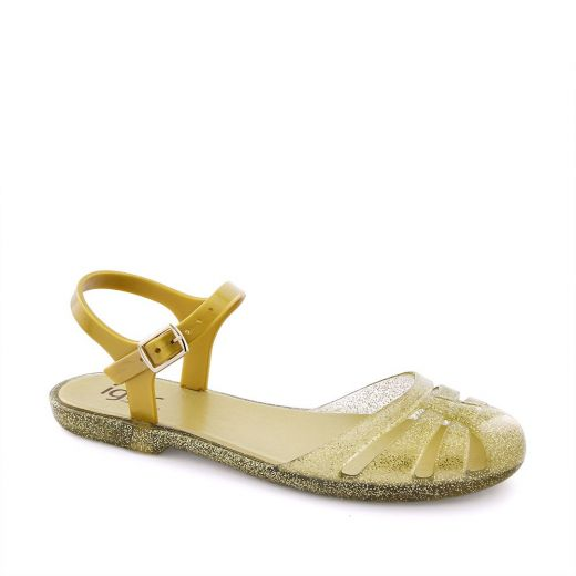 Sandale plaja fete Mara Mini Purpurina Oro