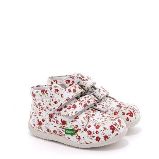 Pantofi fete 653113 Billy Velk Blanc Fleuri