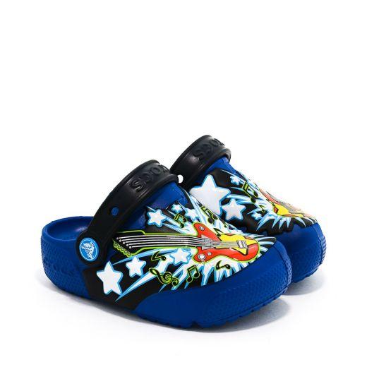 Sandale plaja baieti CrocsFl Guitar Lights Clog K Blue Jean