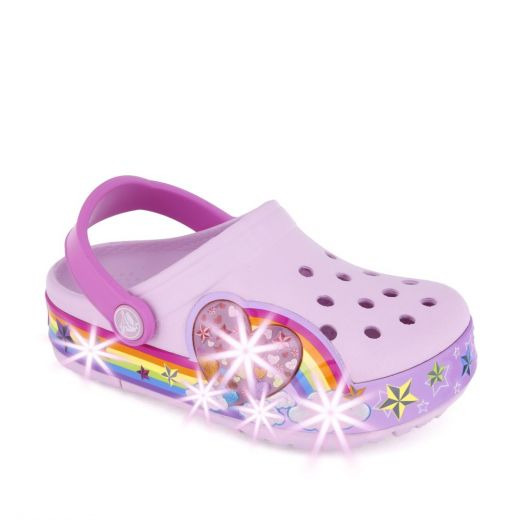 Sandale plaja fete CrocsLights Rainbow Ballerina